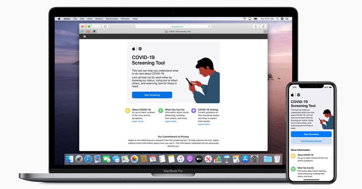 Apple lança aplicativo e site de triagem COVID-19