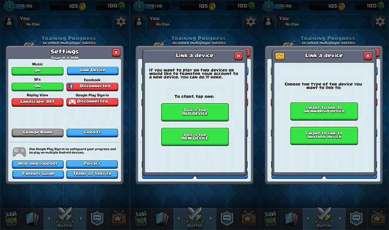 Migrar jogo Clash Royale