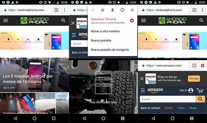 duas janelas do Google Chrome no Android