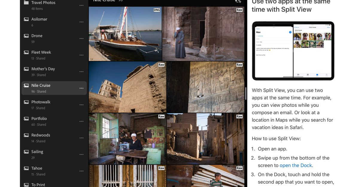 O Lightroom agora suporta multitarefa em tela dividida no iPad