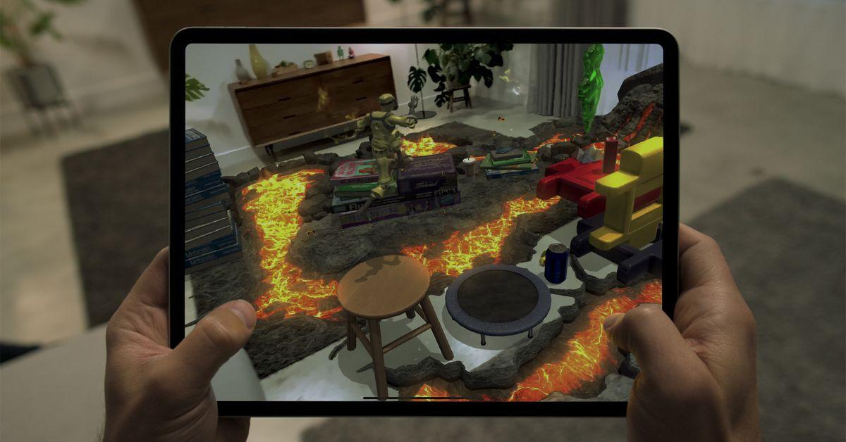 O novo scanner LIDAR do iPad Pro pode transformar uma sala de estar em um jogo de AR de Hot Lava