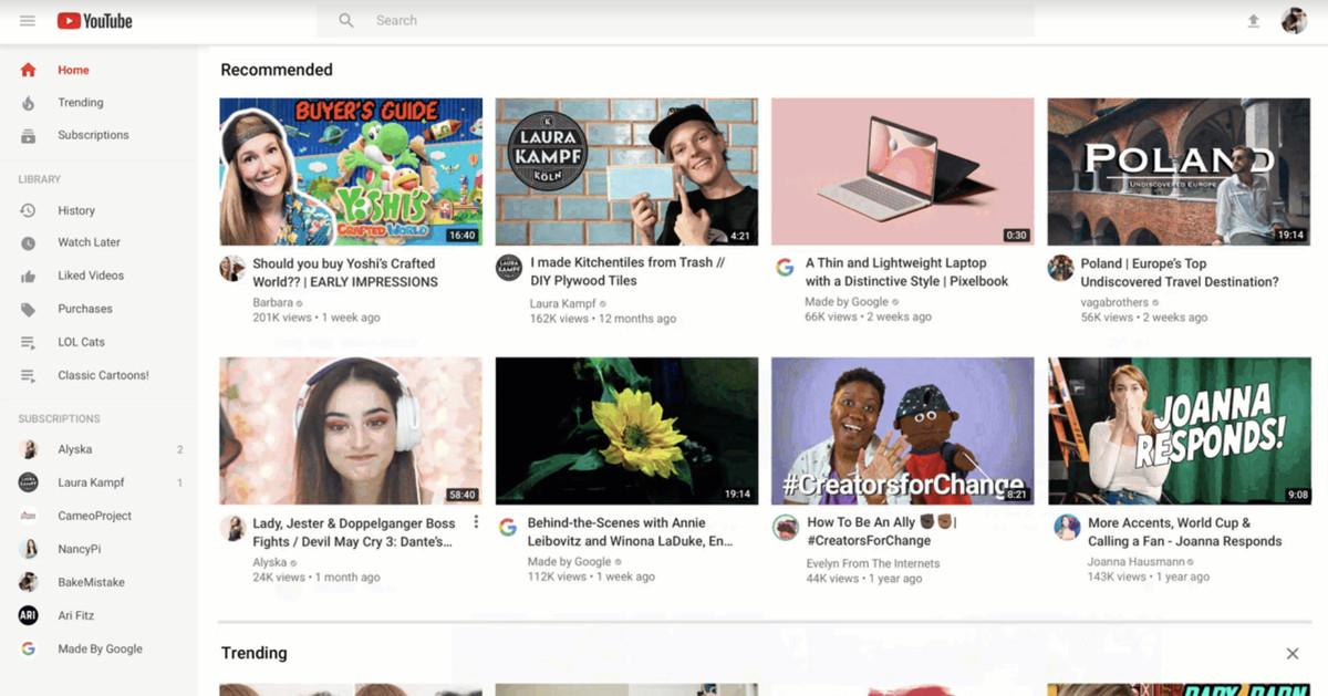 YouTubeO redesenho da página inicial da página significa que as pessoas verão miniaturas maiores e menos vídeos