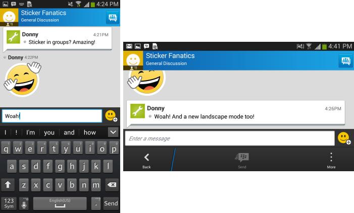 BlackBerry atualiza BBM com suporte a pirulito Android e modo paisagem