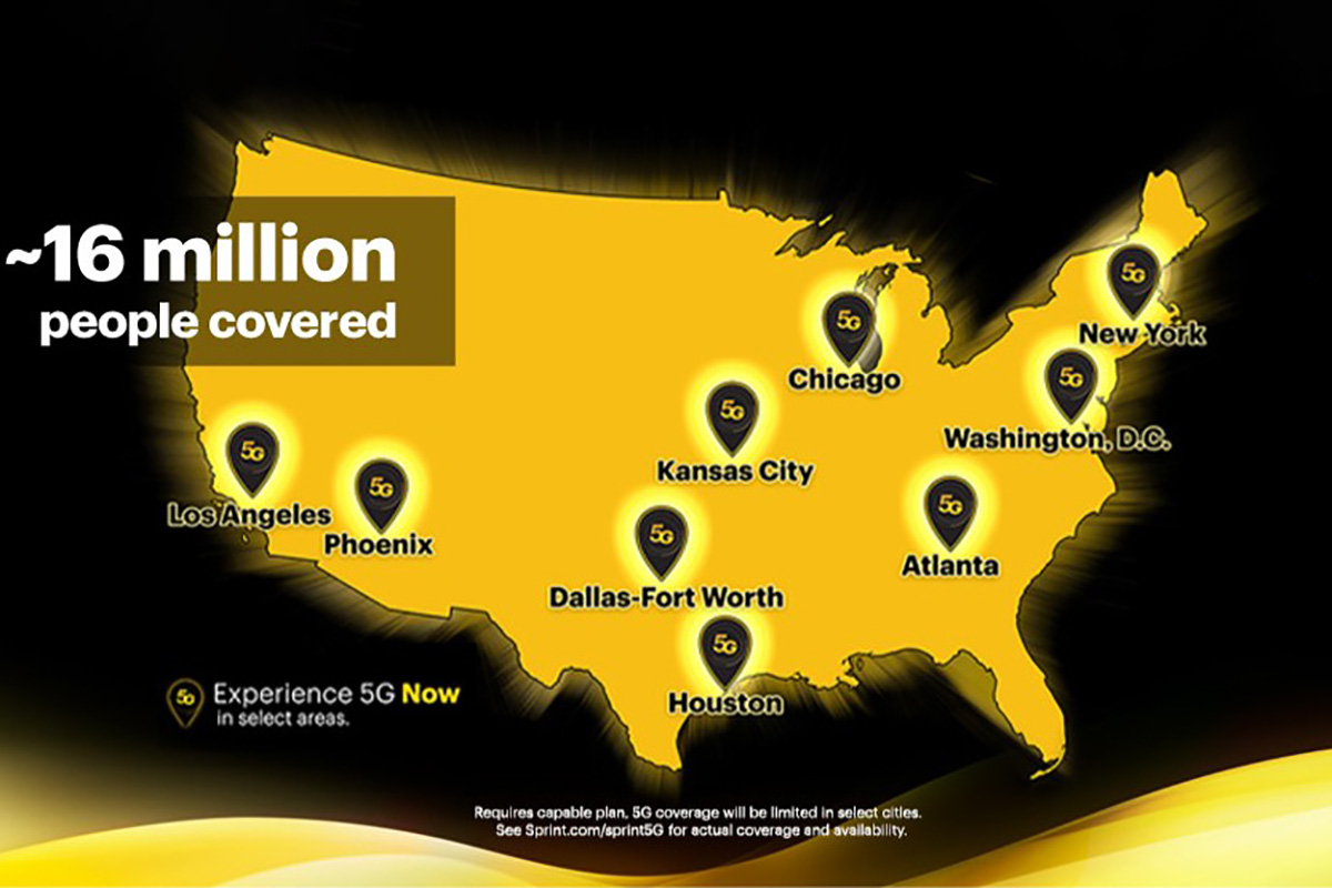 Mapa de cobertura de rede Sprint 5G: quais cidades são cobertas?